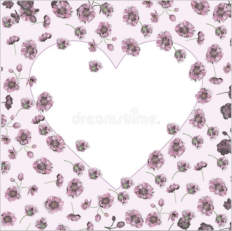 Ejemplo del vector del fondo color de rosa de las flores con el marco del corazón para el día o las bodas de la tarjeta del día d ilustración del vector