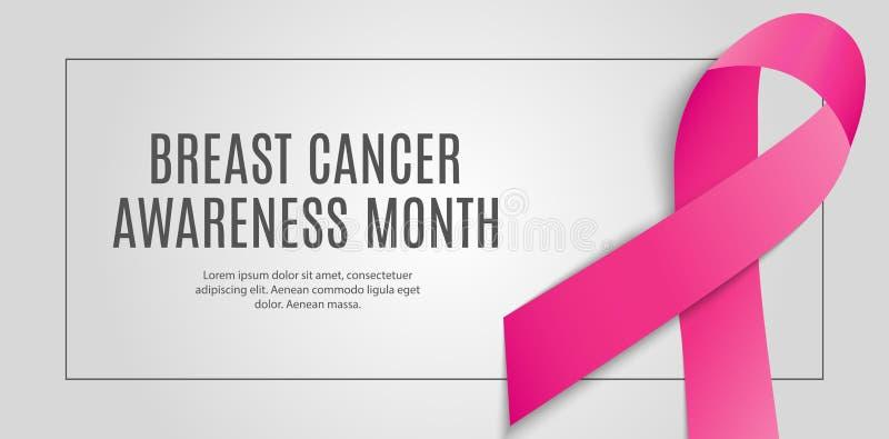 Ejemplo del vector del fondo de la cinta del rosa del mes de la conciencia del cáncer de pecho stock de ilustración