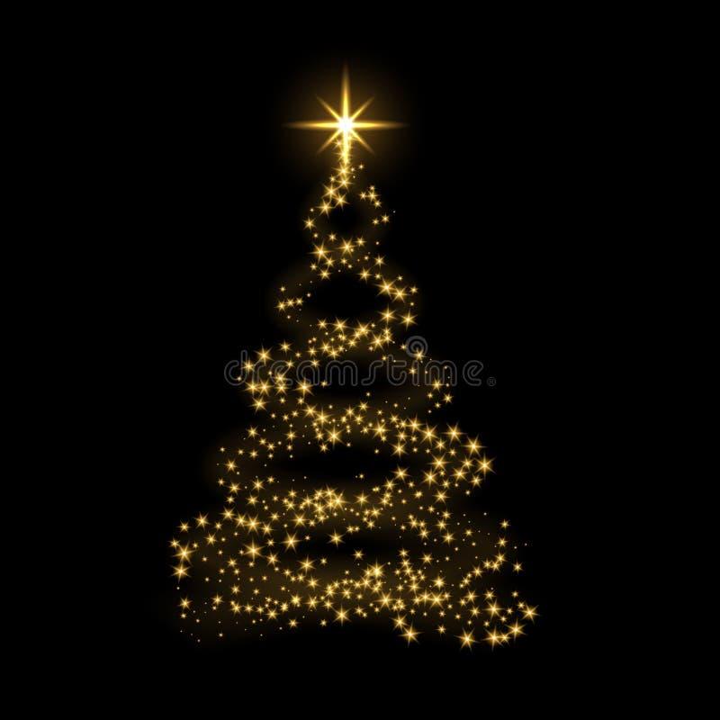 Ejemplo del vector del fondo de la Feliz Año Nuevo del árbol de navidad del oro ilustración del vector