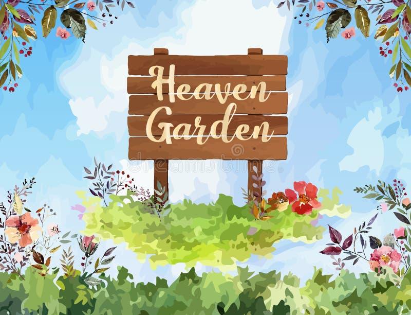 Ejemplo del vector del fondo de la primavera, con el texto del jardín del cielo y la flor libre illustration