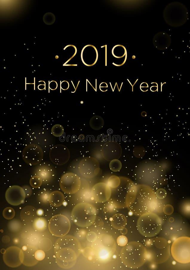 Ejemplo del vector del fondo de la tarjeta de felicitación de la Feliz Año Nuevo 2019 con el polvo de oro y las chispas, vendas C stock de ilustración