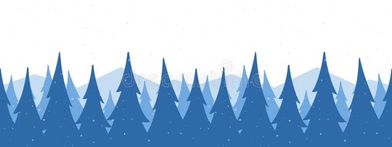 Ejemplo del vector: Fondo inconsútil de las montañas Plantilla de la bandera del saludo de la Navidad con el bosque nevoso del pi libre illustration