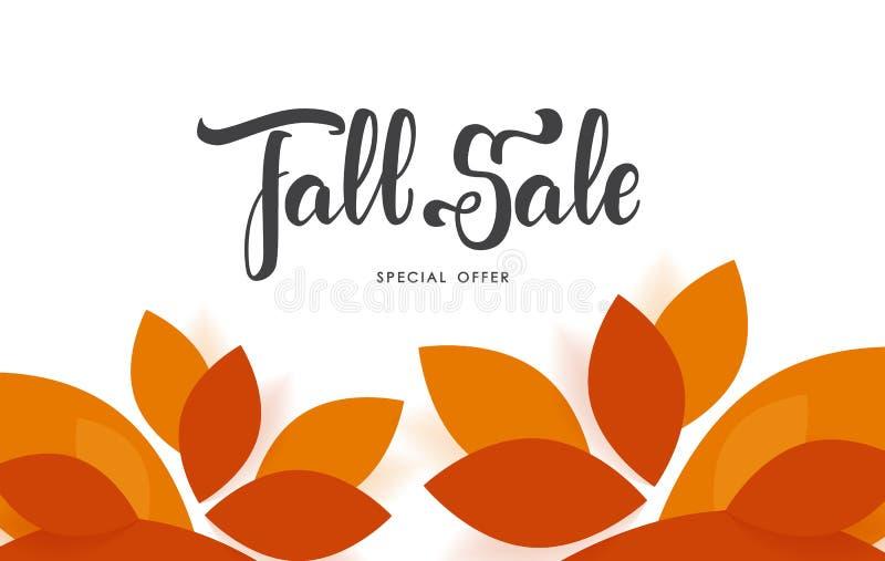 Ejemplo del vector: Fondo del otoño con las letras de la mano de la venta de la caída stock de ilustración