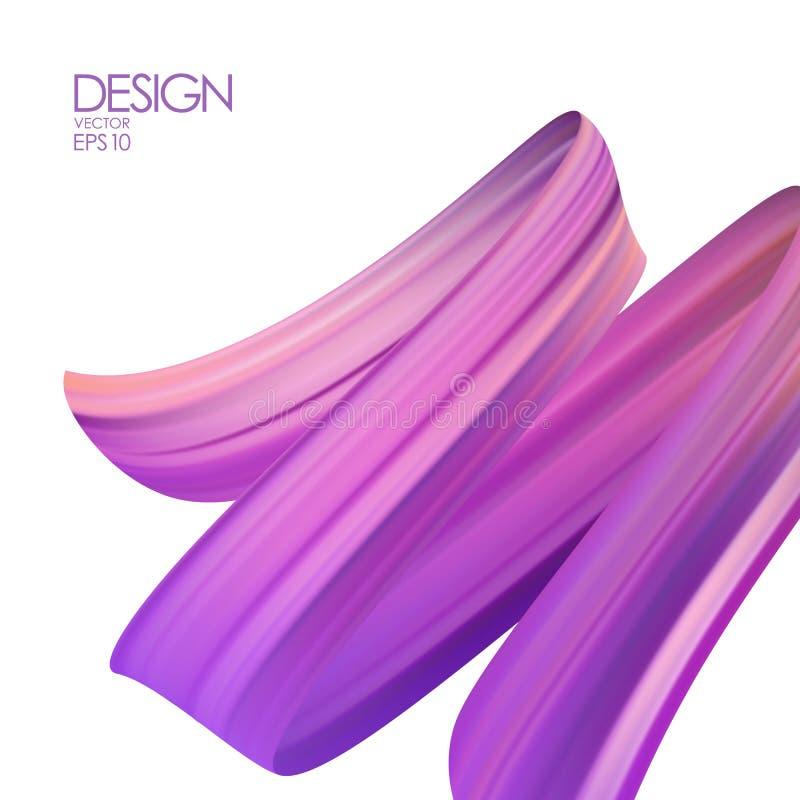 Ejemplo del vector: fondo realista 3d con aceite o pintura acrílica del movimiento del cepillo Forma del líquido de la onda Diseñ ilustración del vector