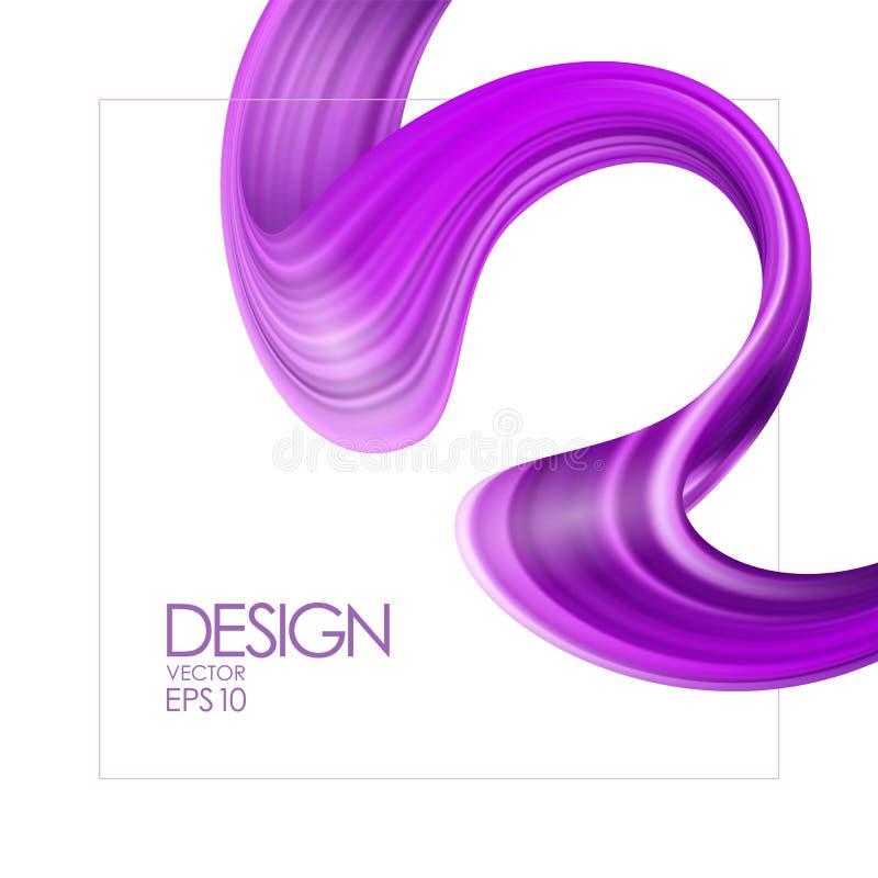 Ejemplo del vector: fondo realista 3d con la pintura o la cinta púrpura del movimiento del cepillo Forma del líquido de la onda D libre illustration