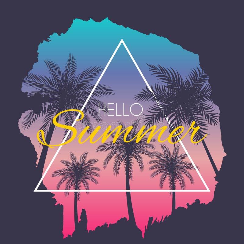 Ejemplo del vector del fondo del verano de la silueta de la hoja de la palmera de Beautifil hola stock de ilustración
