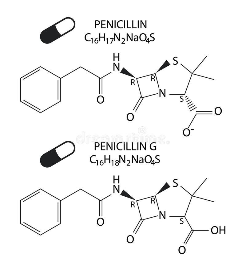 Ejemplo del vector del formular estructural químico de la penicilina y de la penicilina G ilustración del vector