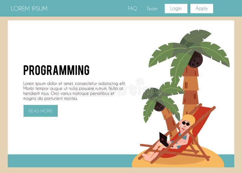 Ejemplo del vector del freelancer de la muchacha que trabaja con el ordenador portátil en la playa que se sienta en silla de cubi libre illustration