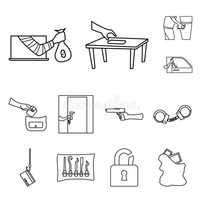 Ejemplo del vector del gamberro y del logotipo del robo Colección de gamberro y de ejemplo del vector de la acción del fraude stock de ilustración