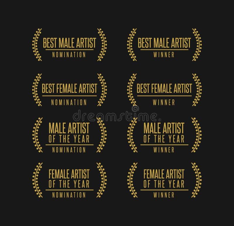 Ejemplo del vector del ganador del nombramiento del premio de la música libre illustration