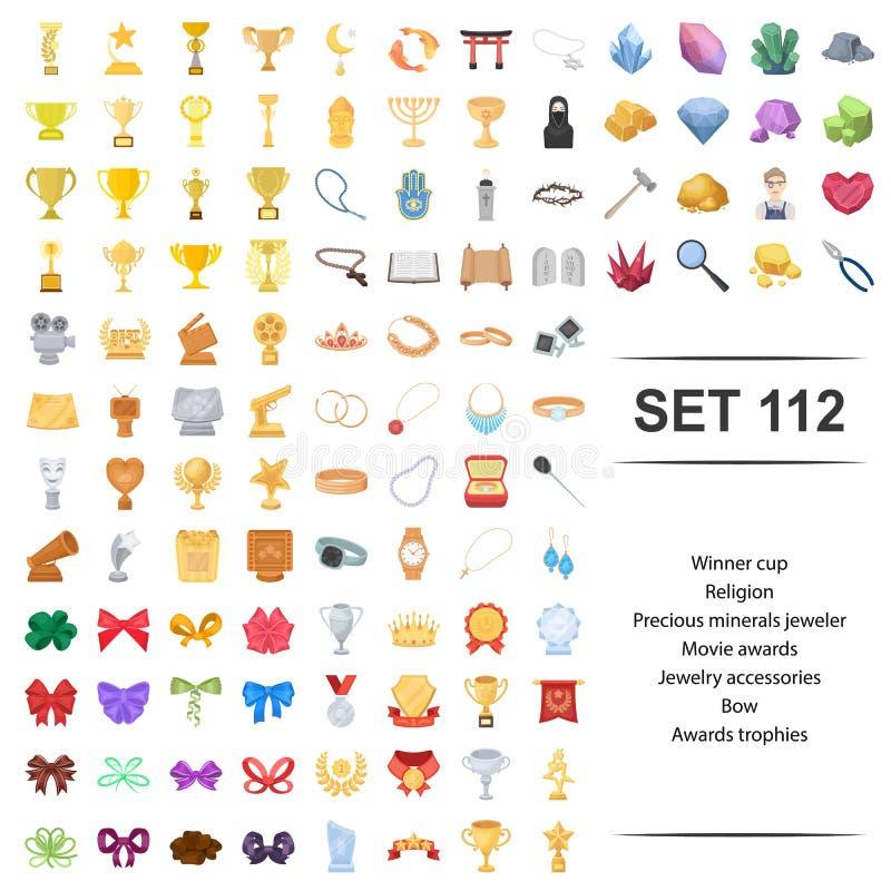 Ejemplo del vector del ganador, taza, religión, sistema precioso, mineral del icono de los trofeos del arco de la joyería del pre stock de ilustración