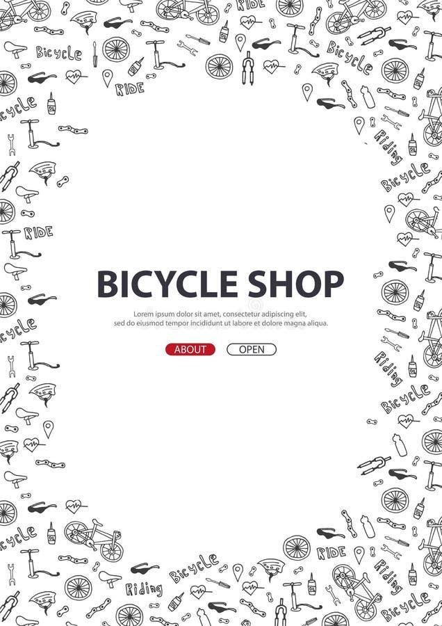 Ejemplo del vector del garabato de la bicicleta Concepto de forma de vida y de aventura biking para las banderas del web, materia stock de ilustración