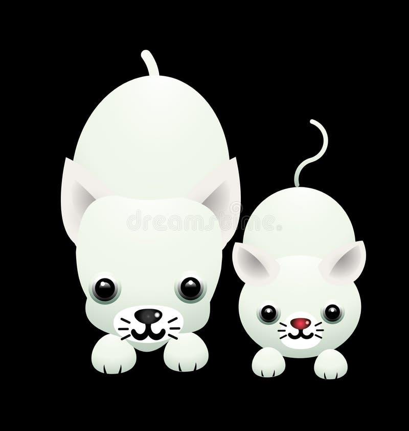 Ejemplo del vector del gato y del perro de la historieta stock de ilustración