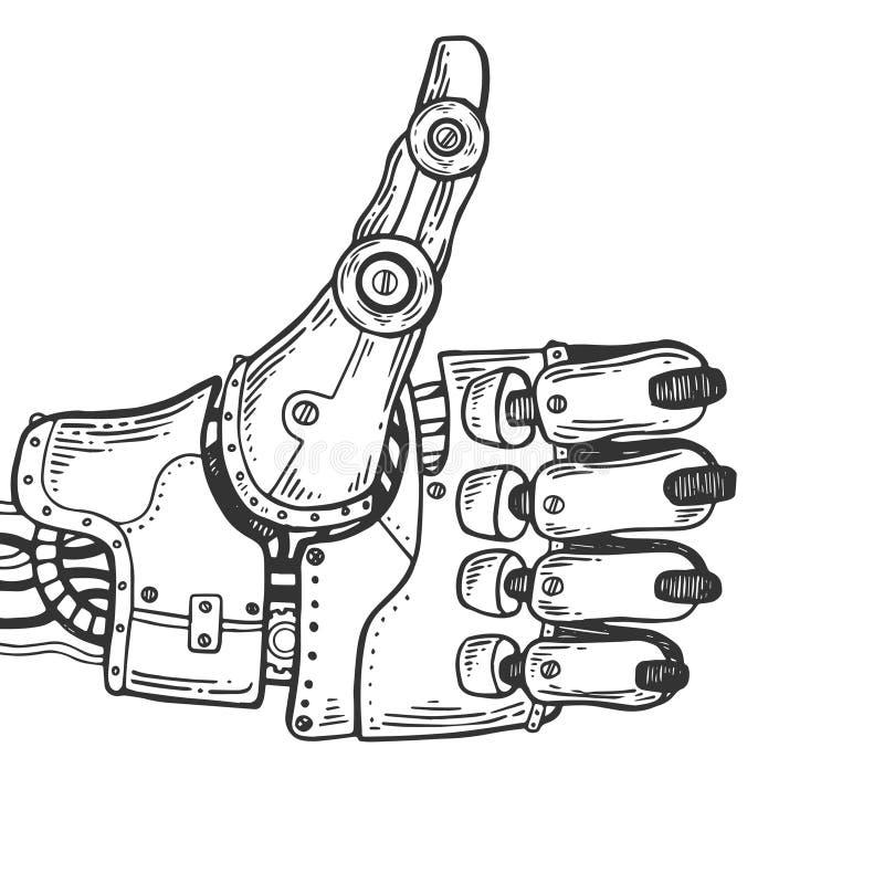 Ejemplo del vector del grabado de la mano del robot libre illustration