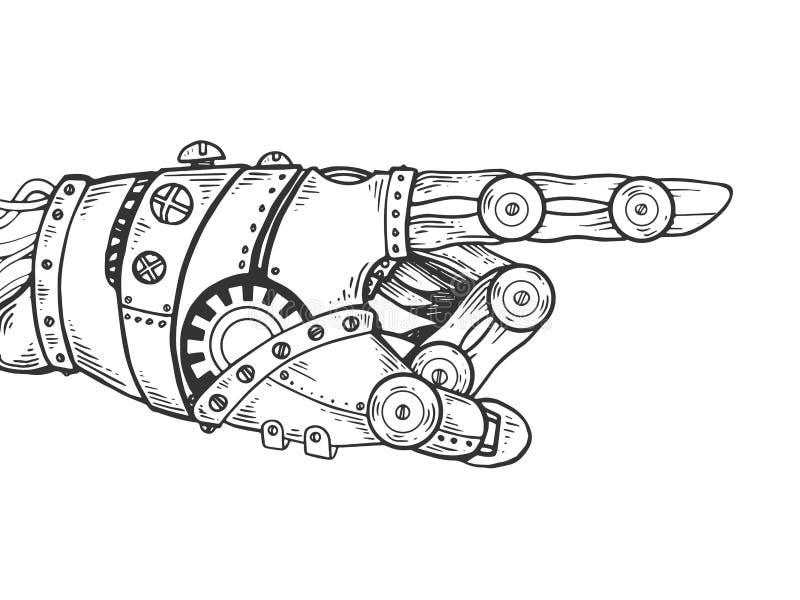 Ejemplo del vector del grabado de la mano del robot stock de ilustración