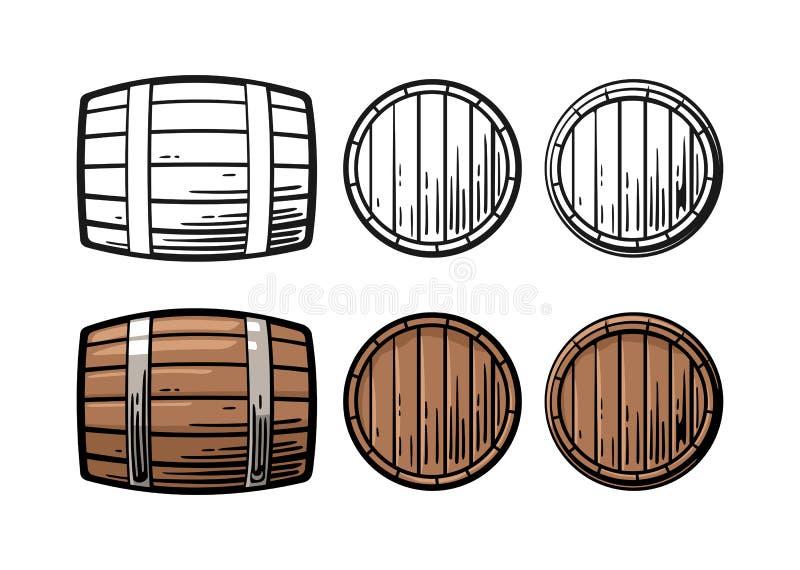 Ejemplo del vector del grabado de la vista delantera y lateral del barril de madera stock de ilustración