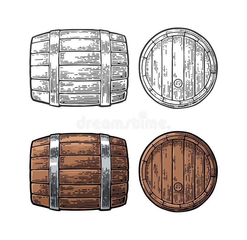 Ejemplo del vector del grabado de la vista delantera y lateral del barril de madera libre illustration