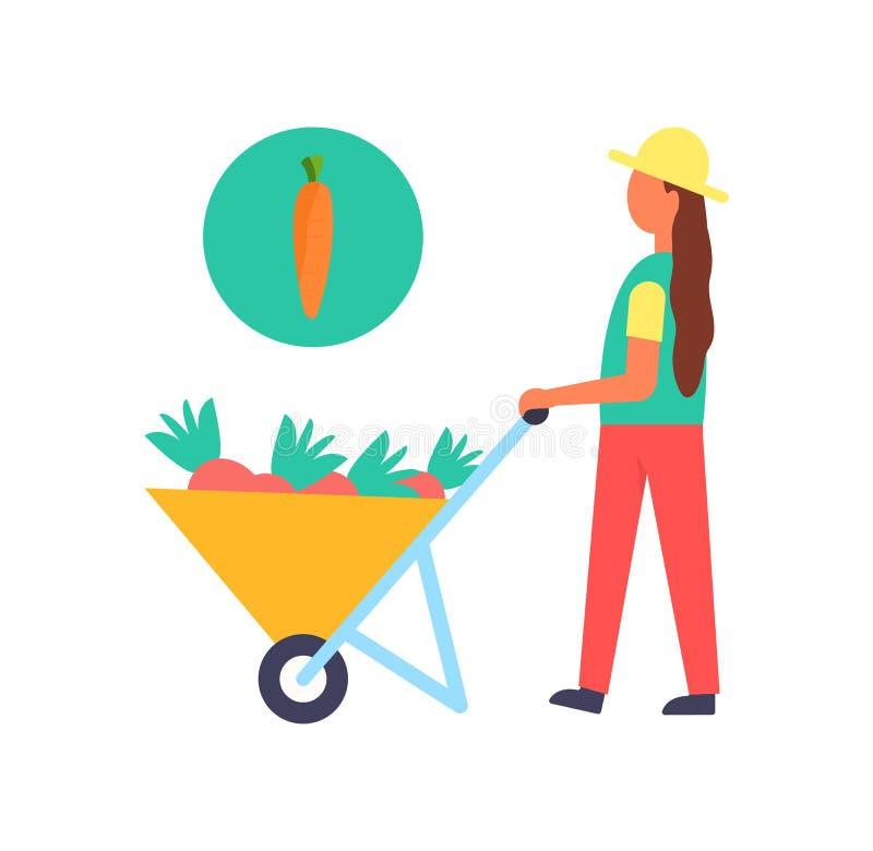 Ejemplo del vector del granjero y del carro de la persona de la cosecha ilustración del vector