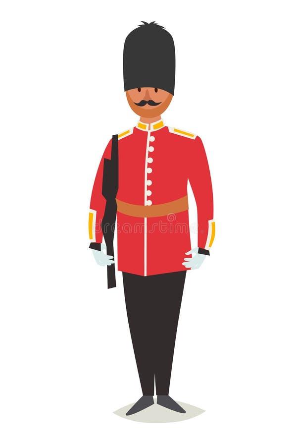 Ejemplo del vector del guardia de la reina Icono real inglés del estilo de la historieta del guardia libre illustration