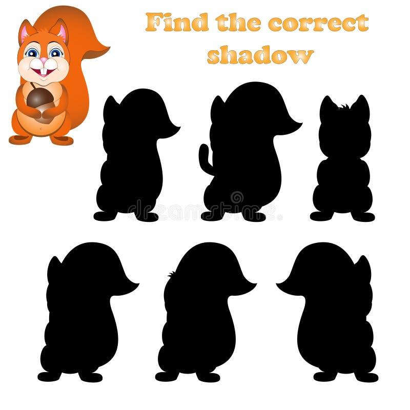 Ejemplo del vector del hallazgo la sombra derecha de una ardilla stock de ilustración