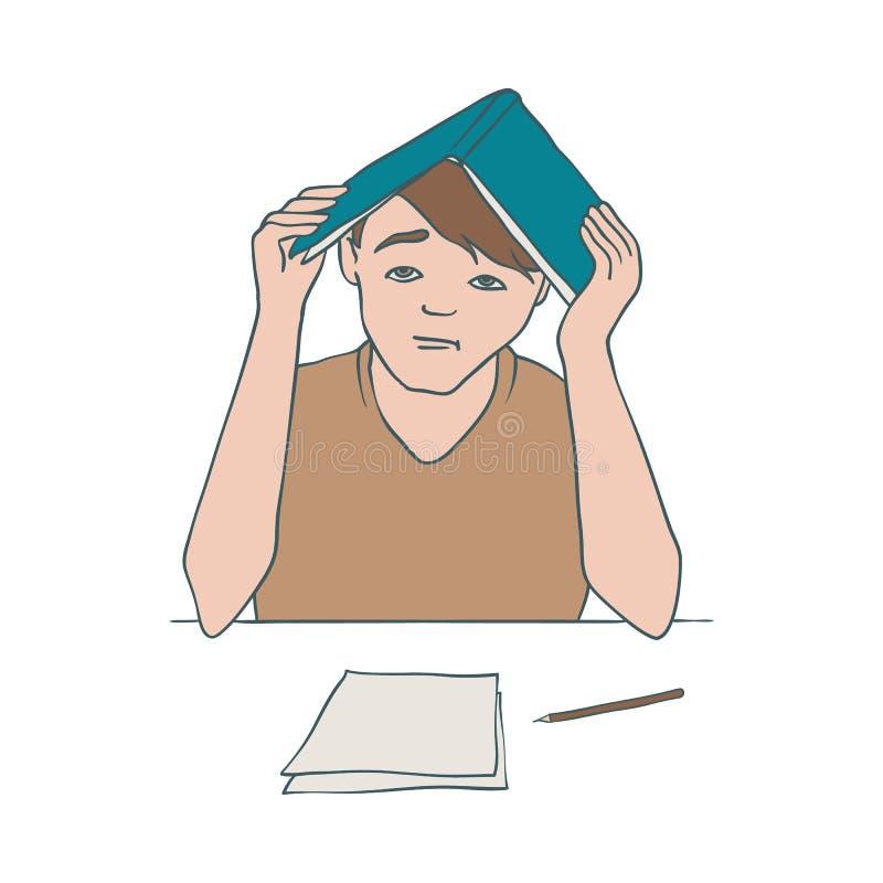 Ejemplo del vector del hombre aburrido y cansado que se sienta en la tabla con los documentos y que cubre su cabeza con el libro  ilustración del vector
