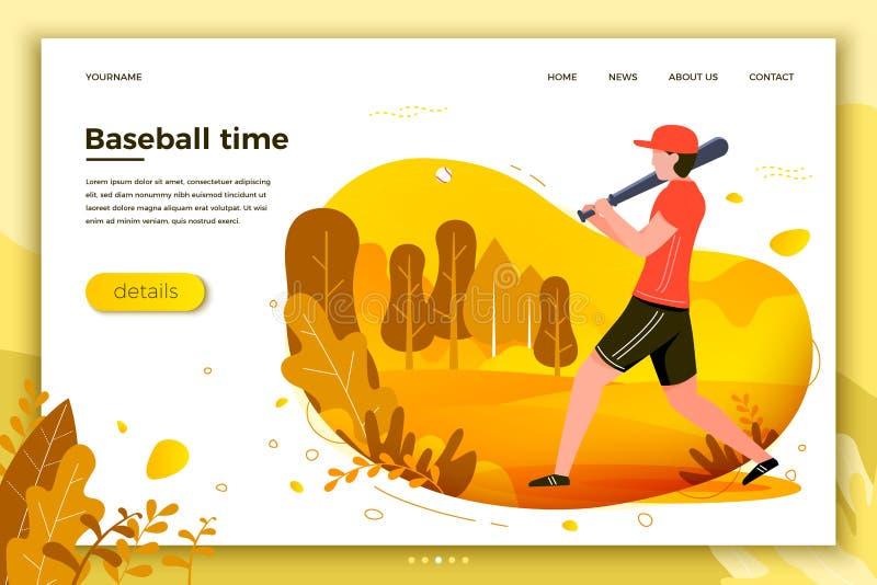 Ejemplo del vector - hombre deportivo que juega a béisbol stock de ilustración