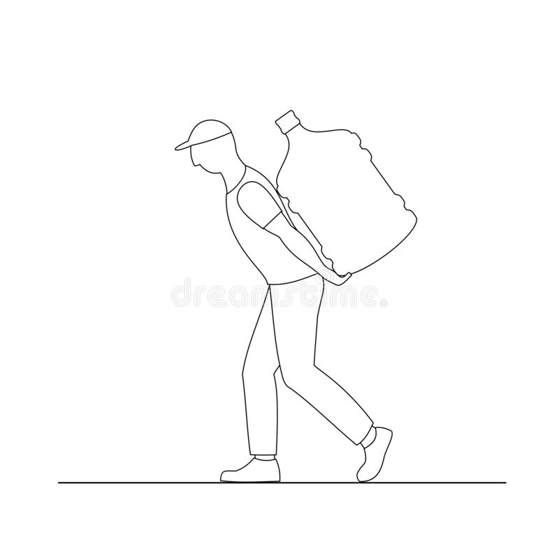 Ejemplo del vector del hombre del portero de la silueta El trabajador está llevando una botella grande de agua el suyo detrás ilustración del vector