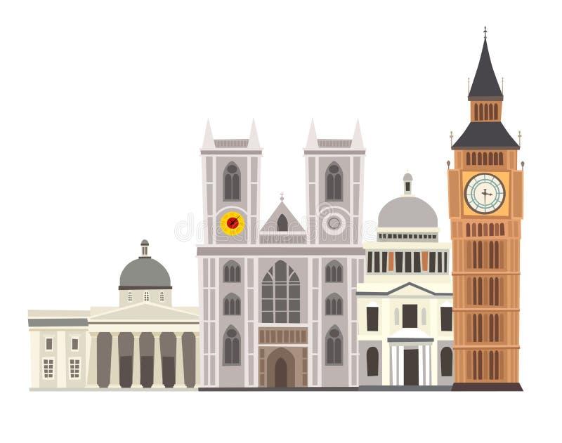 Ejemplo del vector del horizonte de la calle de Londres Reloj-torre de la abadía, de Big Ben de Westminster e icono de los edific libre illustration