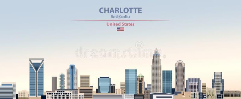 Ejemplo del vector del horizonte de la ciudad de Charlotte en fondo hermoso del cielo del día de la pendiente colorida con la ban libre illustration