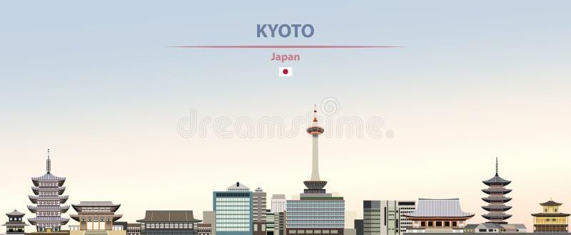 Ejemplo del vector del horizonte de la ciudad de Kyoto en fondo diurno hermoso de la pendiente colorida stock de ilustración