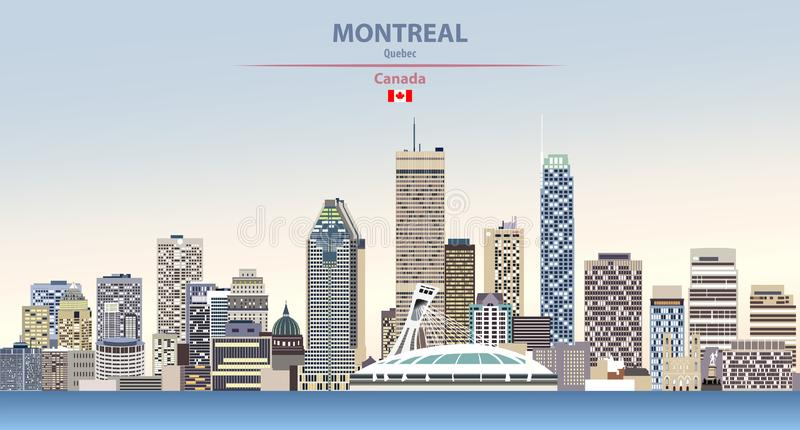 Ejemplo del vector del horizonte de la ciudad de Montreal en fondo hermoso del cielo del día de la pendiente colorida con la band ilustración del vector