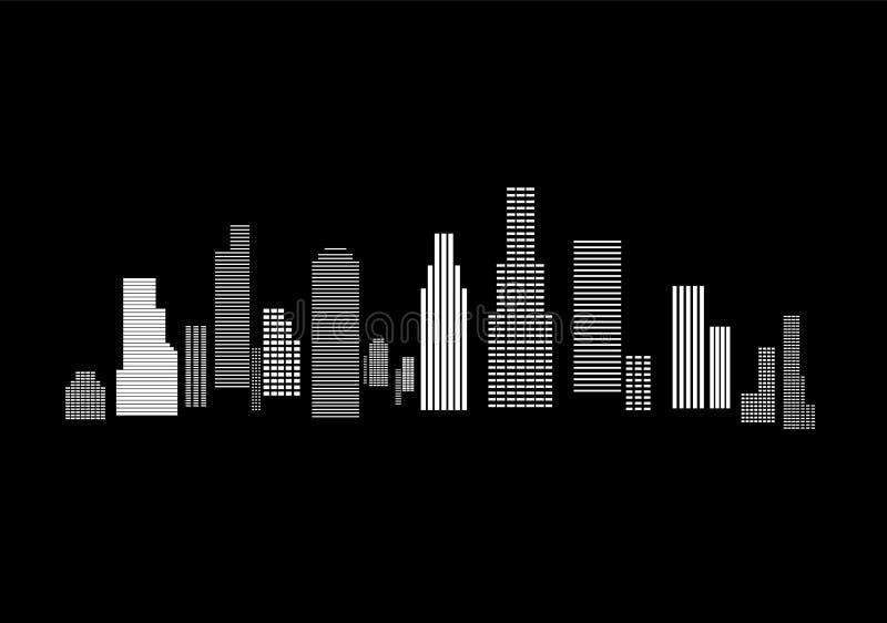Ejemplo del vector del horizonte de la ciudad Paisaje urbano Paisaje urbano diurno en estilo plano ilustración del vector