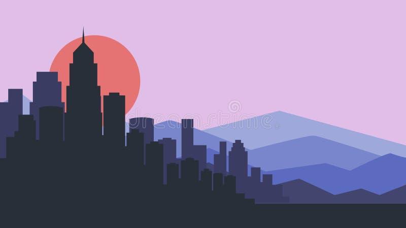 Ejemplo del vector del horizonte de la ciudad Paisaje urbano silueta púrpura de la ciudad Paisaje urbano en estilo plano Paisaje  ilustración del vector