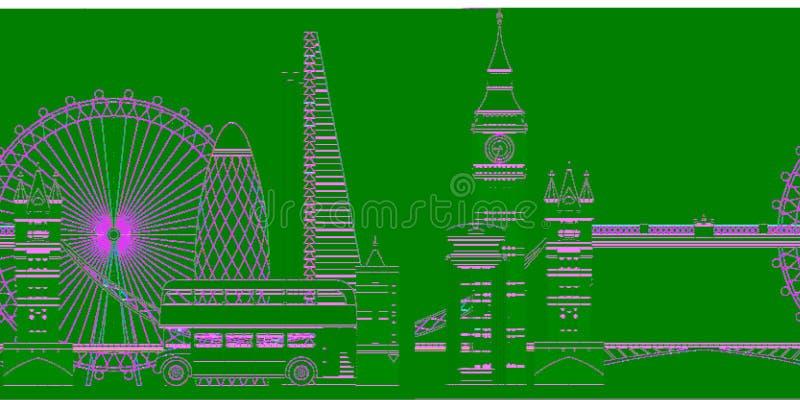 Ejemplo del vector del horizonte de Londres Sightseenigs famosos de Londres stock de ilustración