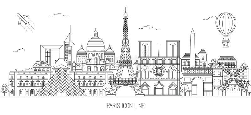 Ejemplo del vector del horizonte de París ilustración del vector