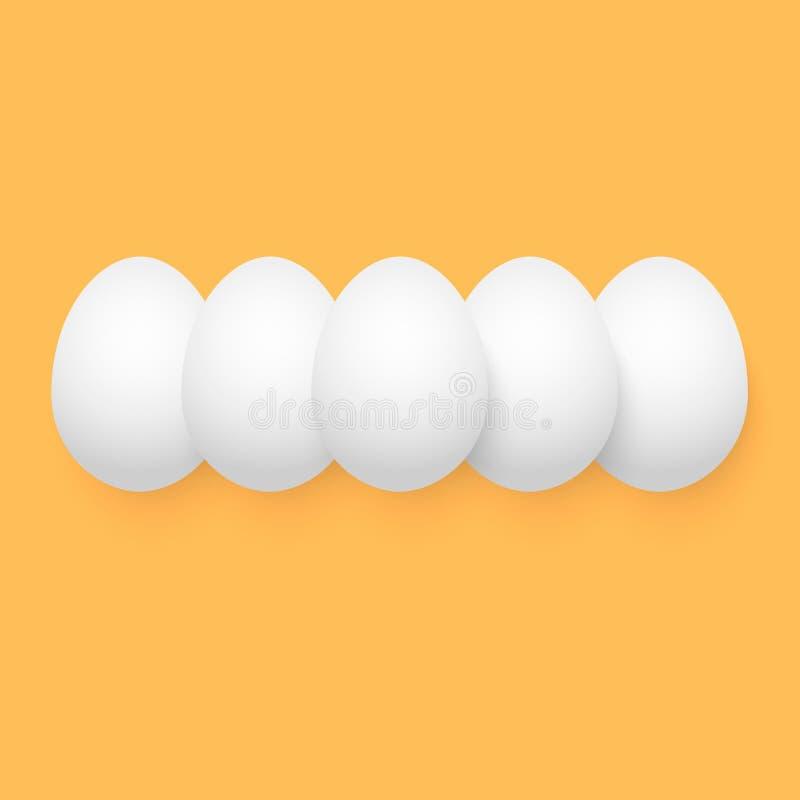 Ejemplo del vector del huevo de Pascua Grupo aislado de huevos en naranja stock de ilustración