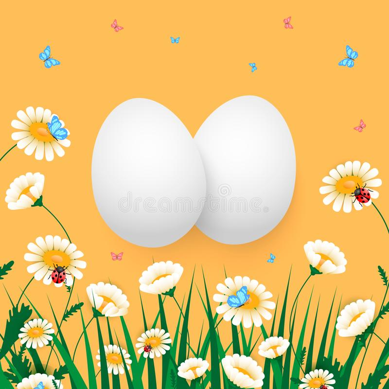 Ejemplo del vector del huevo de Pascua grupo de huevos con las flores, la hierba, la mariquita y la mariposa en naranja ilustración del vector