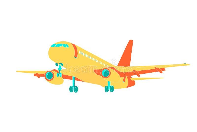 Ejemplo del vector del icono del aeroplano Símbolo del viaje del vuelo del aeroplano Vista plana plana de una imagen común plana  ilustración del vector