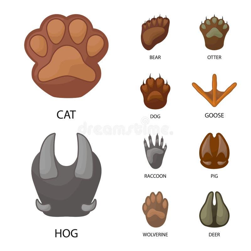 Ejemplo del vector del icono del animal y de la impresión Colección de animal y de símbolo común de la huella para la web ilustración del vector