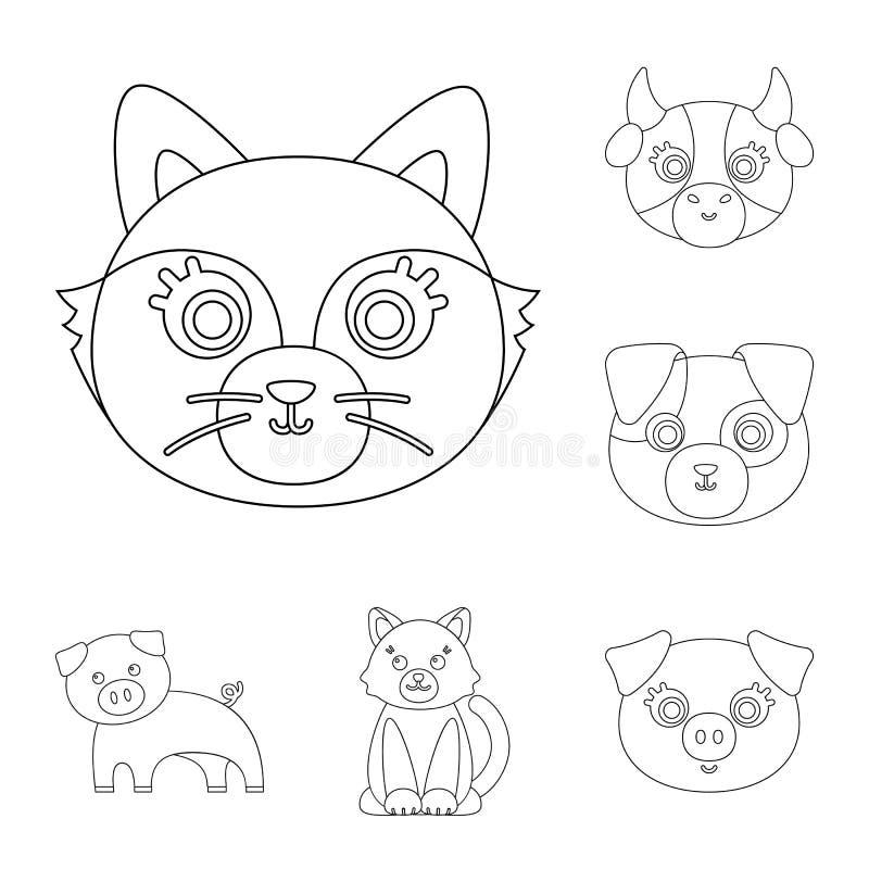 Ejemplo del vector del icono del animal y del hábitat Colección de ejemplo del vector de la acción del animal y de granja libre illustration