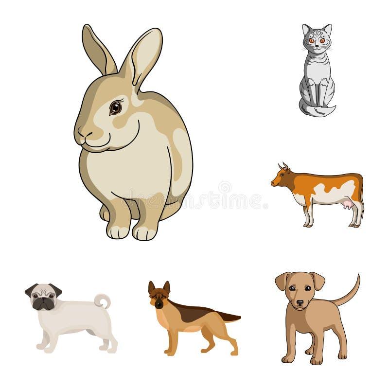 Ejemplo del vector del icono del animal y del hábitat Fije del ejemplo del vector de la acción del animal y de granja libre illustration