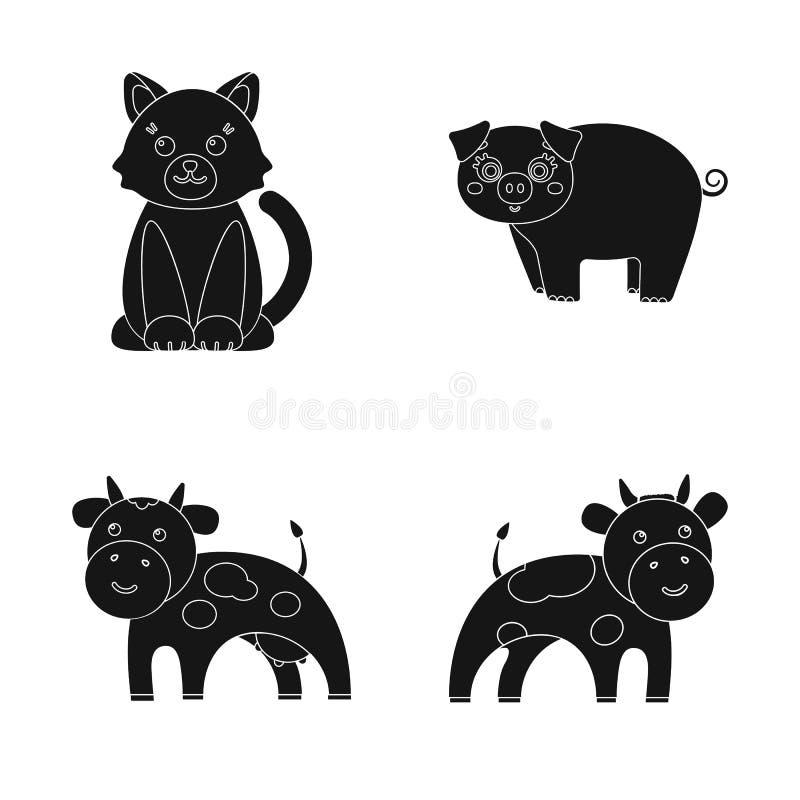 Ejemplo del vector del icono del animal y del hábitat Fije del símbolo común del animal y de granja para la web stock de ilustración