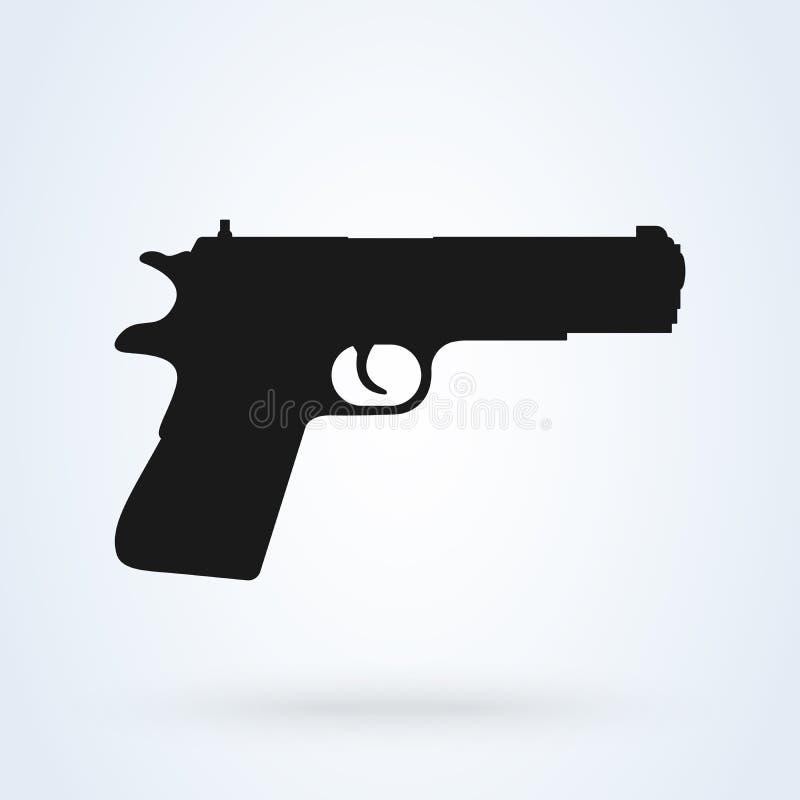 Ejemplo del vector del icono del arma de la pistola en el fondo blanco ilustración del vector