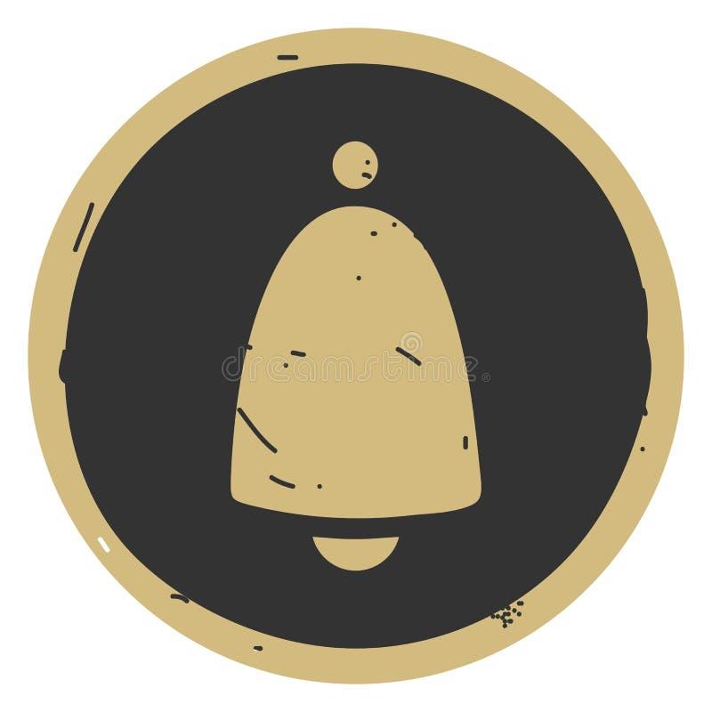 Ejemplo del vector del icono de Bell en fondo gris stock de ilustración