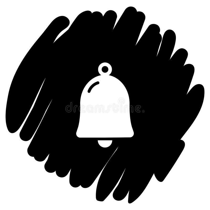Ejemplo del vector del icono de Bell en fondo negro stock de ilustración