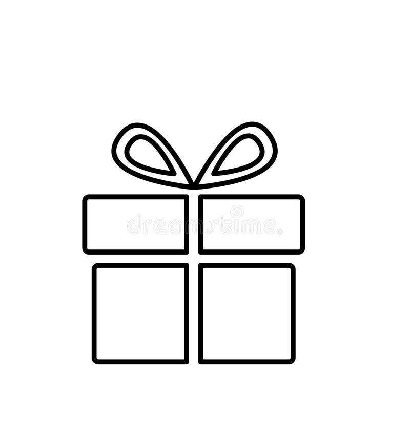 Ejemplo del vector del icono de la caja de regalo de la Navidad del esquema aislado en blanco libre illustration