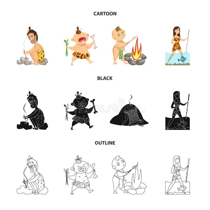 Ejemplo del vector del icono de la evolución y de la prehistoria Colección de ejemplo común del vector de la evolución y del desa libre illustration