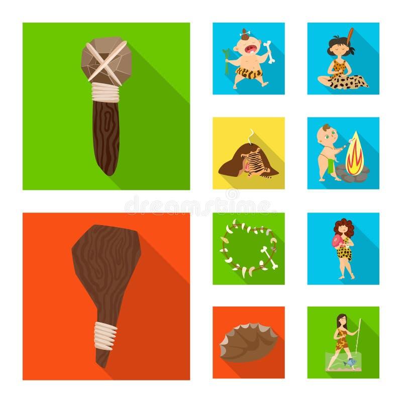 Ejemplo del vector del icono de la evolución y de la prehistoria Colección de icono del vector de la evolución y del desarrollo p ilustración del vector