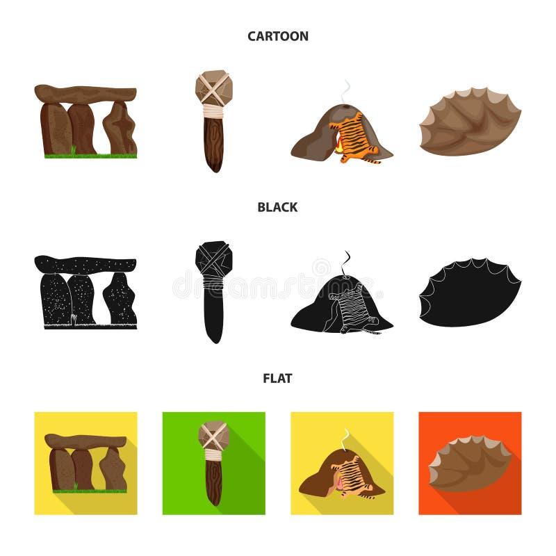 Ejemplo del vector del icono de la evolución y de la prehistoria Fije del icono del vector de la evolución y del desarrollo para  libre illustration