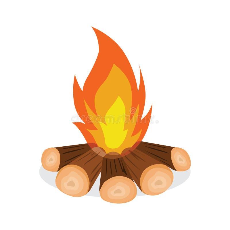 Ejemplo del vector del icono de la leña y del fuego libre illustration